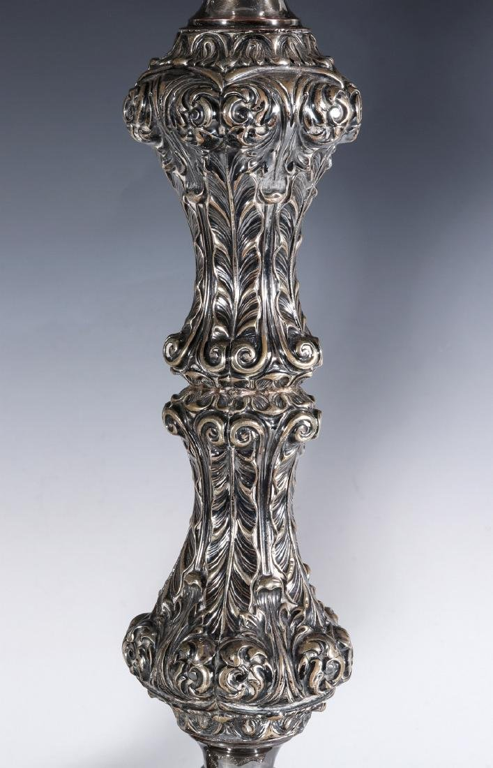 A PAIR ENGLISH SILVER PLATED ROCOCO CANDLESTICKS - 8