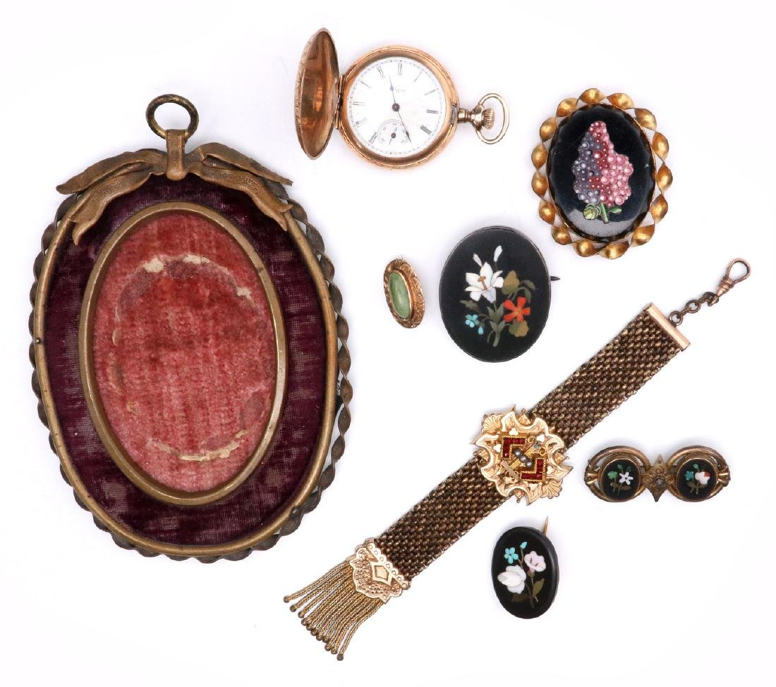 A COLLECTION OF VICTORIAN SMALLS, WATCH & JEWELRY