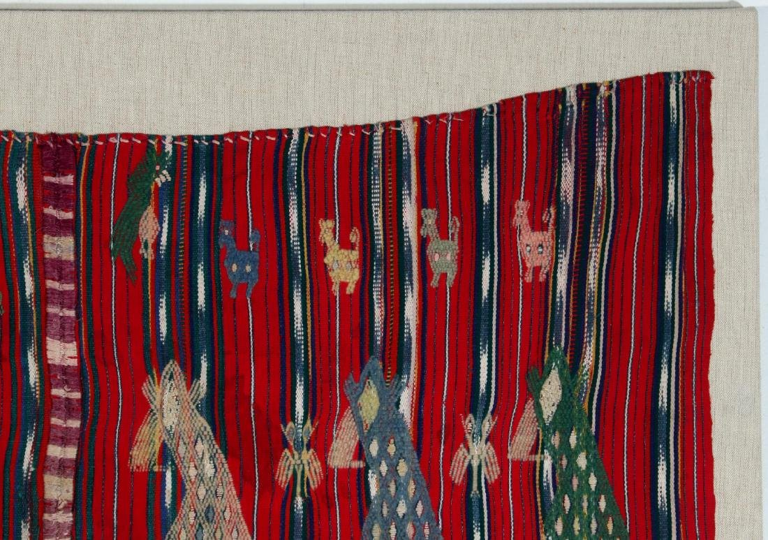 A VINTAGE LOOMED TEXTILE WITH EMBROIDERED FIGURES - 3