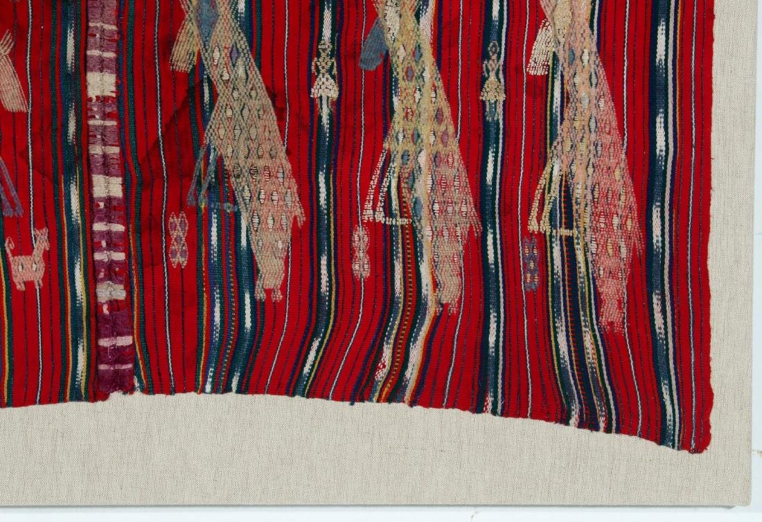 A VINTAGE LOOMED TEXTILE WITH EMBROIDERED FIGURES - 4
