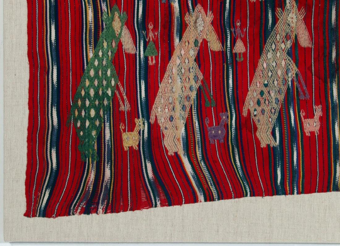 A VINTAGE LOOMED TEXTILE WITH EMBROIDERED FIGURES - 5
