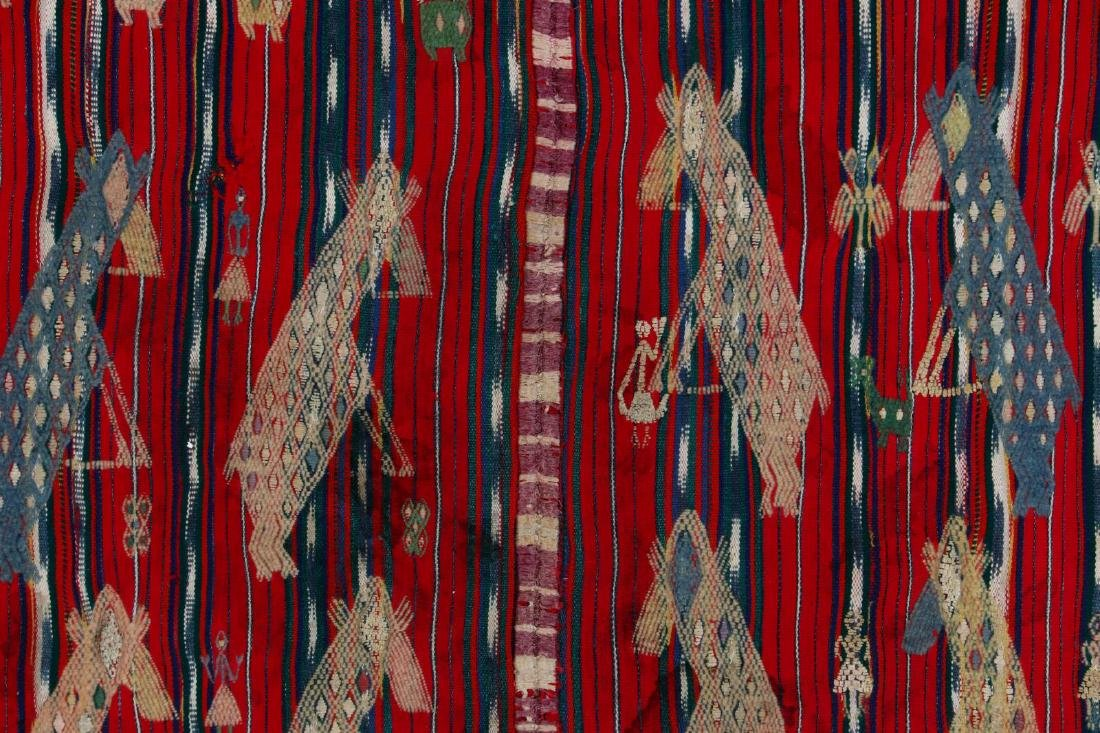 A VINTAGE LOOMED TEXTILE WITH EMBROIDERED FIGURES - 6