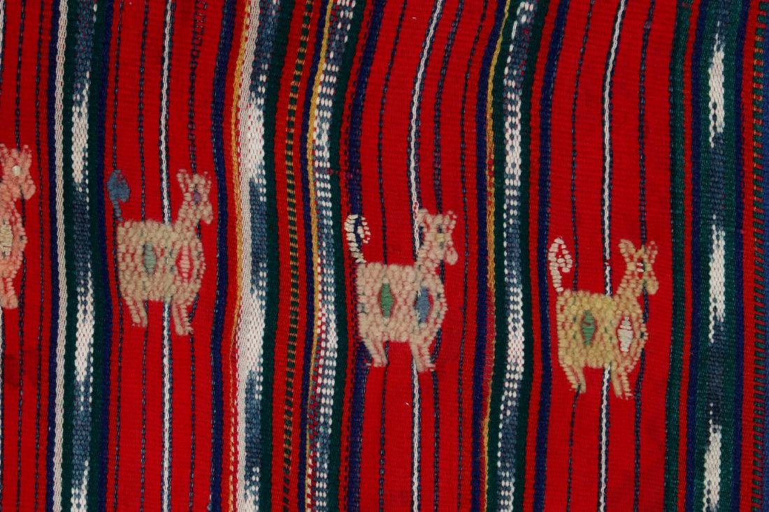 A VINTAGE LOOMED TEXTILE WITH EMBROIDERED FIGURES - 7