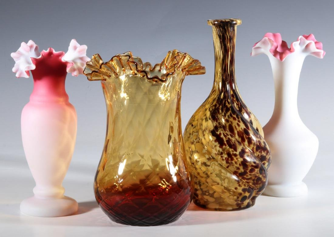 FOUR DIFFERENT VICTORIAN ART GLASS EXAMPLES