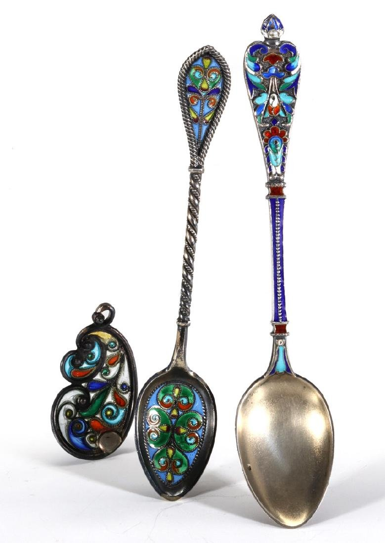 COLLECTION OF STERLING CHAMPLEVE AND PLIQUE A JOUR