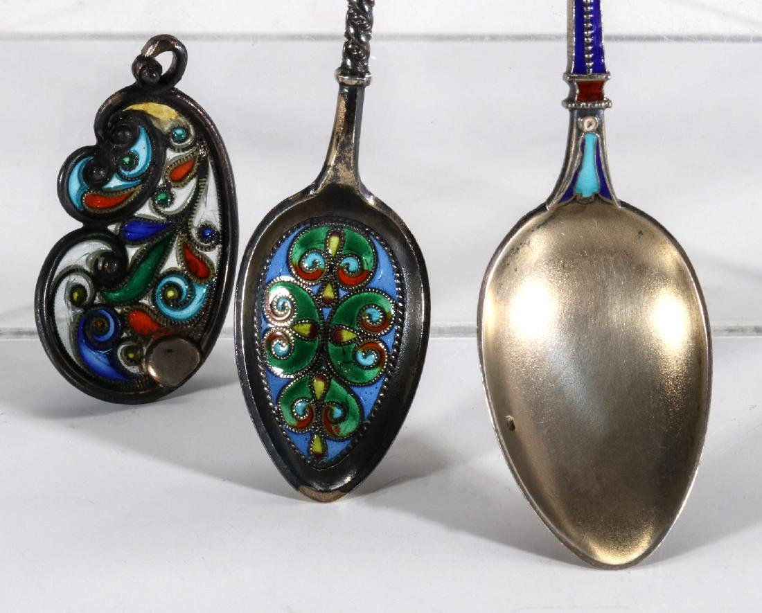 COLLECTION OF STERLING CHAMPLEVE AND PLIQUE A JOUR - 4