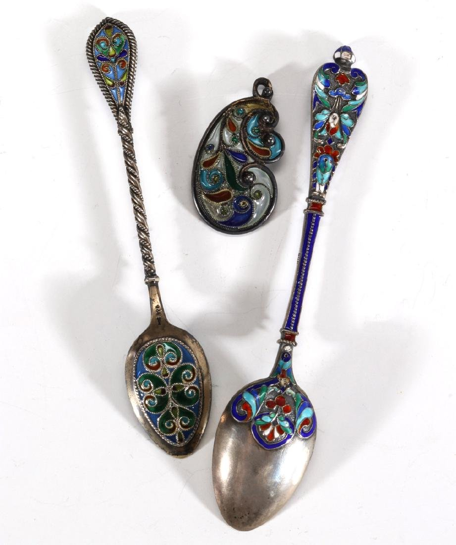 COLLECTION OF STERLING CHAMPLEVE AND PLIQUE A JOUR - 5