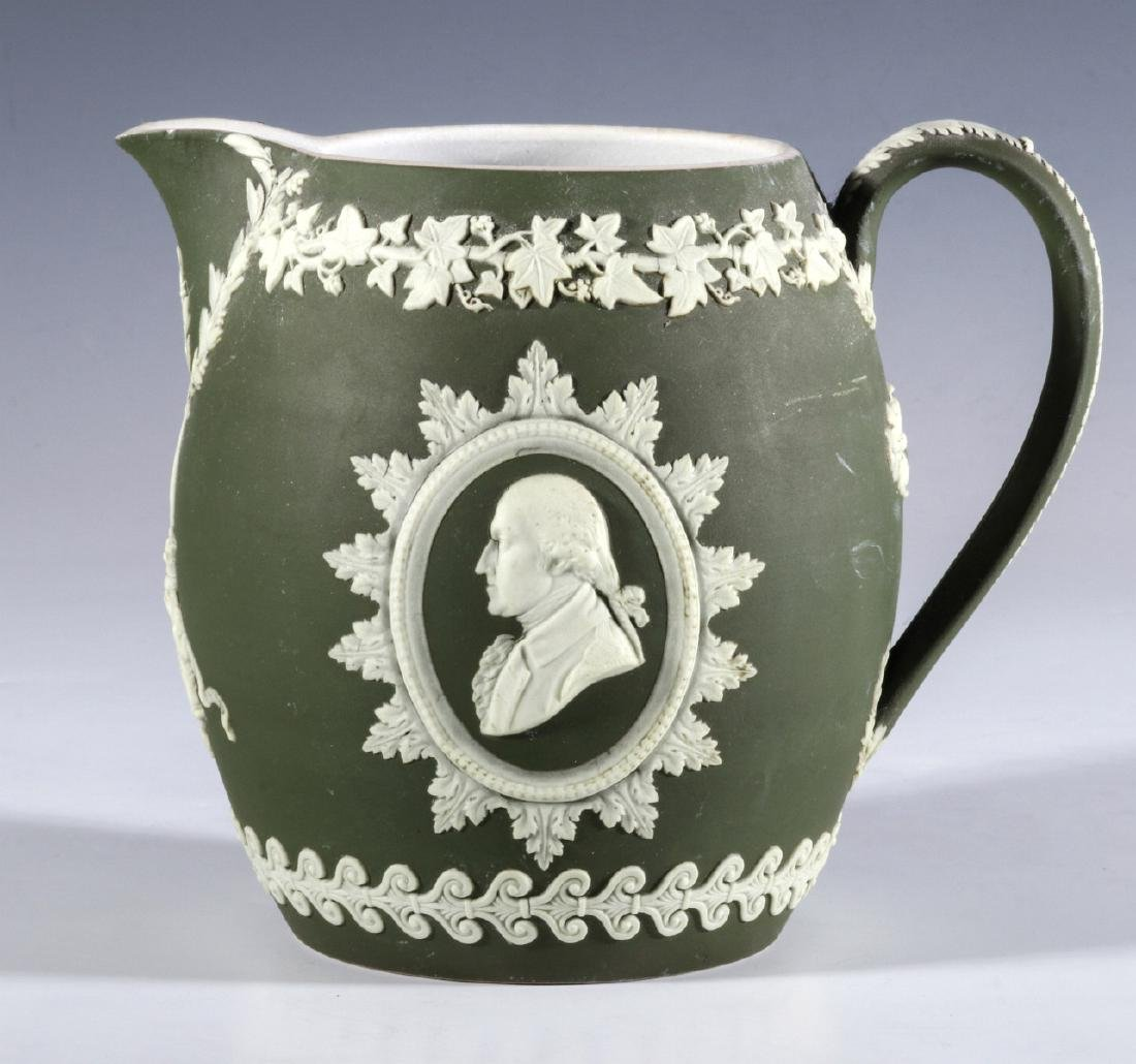 A WEDGWOOD PITCHER WITH WASHINGTON AND FRANKLIN