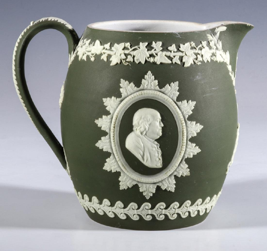 A WEDGWOOD PITCHER WITH WASHINGTON AND FRANKLIN - 7