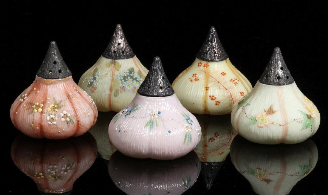 FIVE 19TH CENTURY MT. WASHINGTON FIG FORM SHAKERS - 8