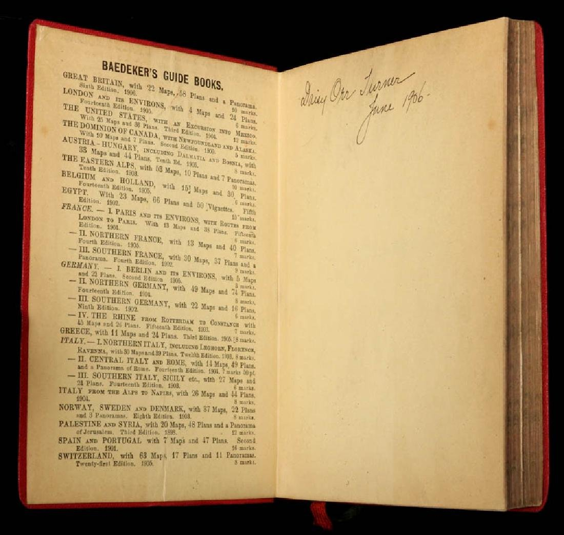BAEDEKER'S GUIDE & GUIDE THROUGH EUROPE CIRCA 1900 - 10