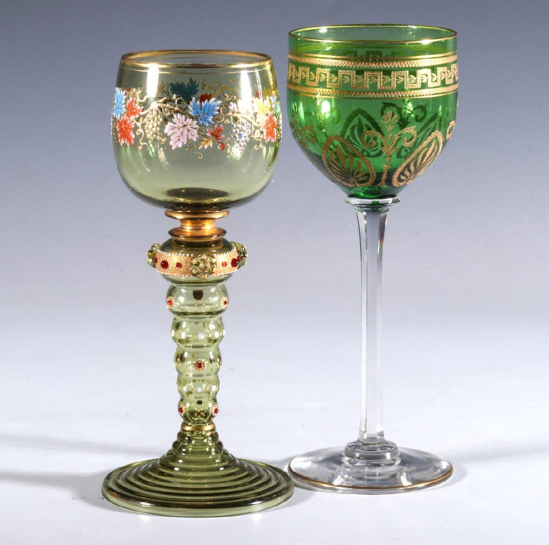 BOHEMIAN AND FRENCH(?) ART GLASS WINE GOBLETS - 10