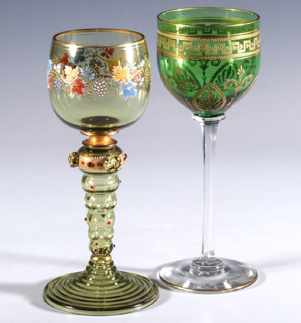BOHEMIAN AND FRENCH(?) ART GLASS WINE GOBLETS