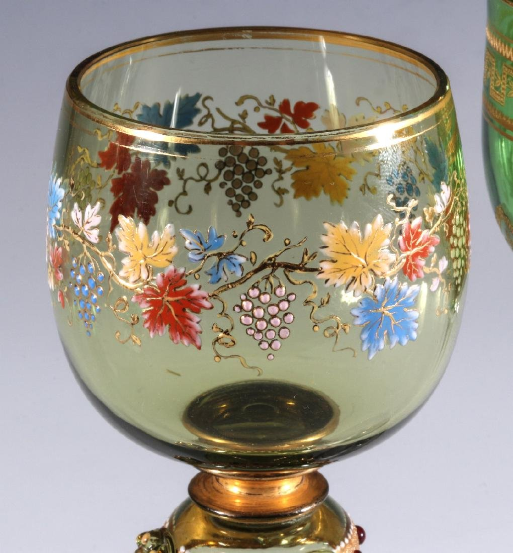 BOHEMIAN AND FRENCH(?) ART GLASS WINE GOBLETS - 2