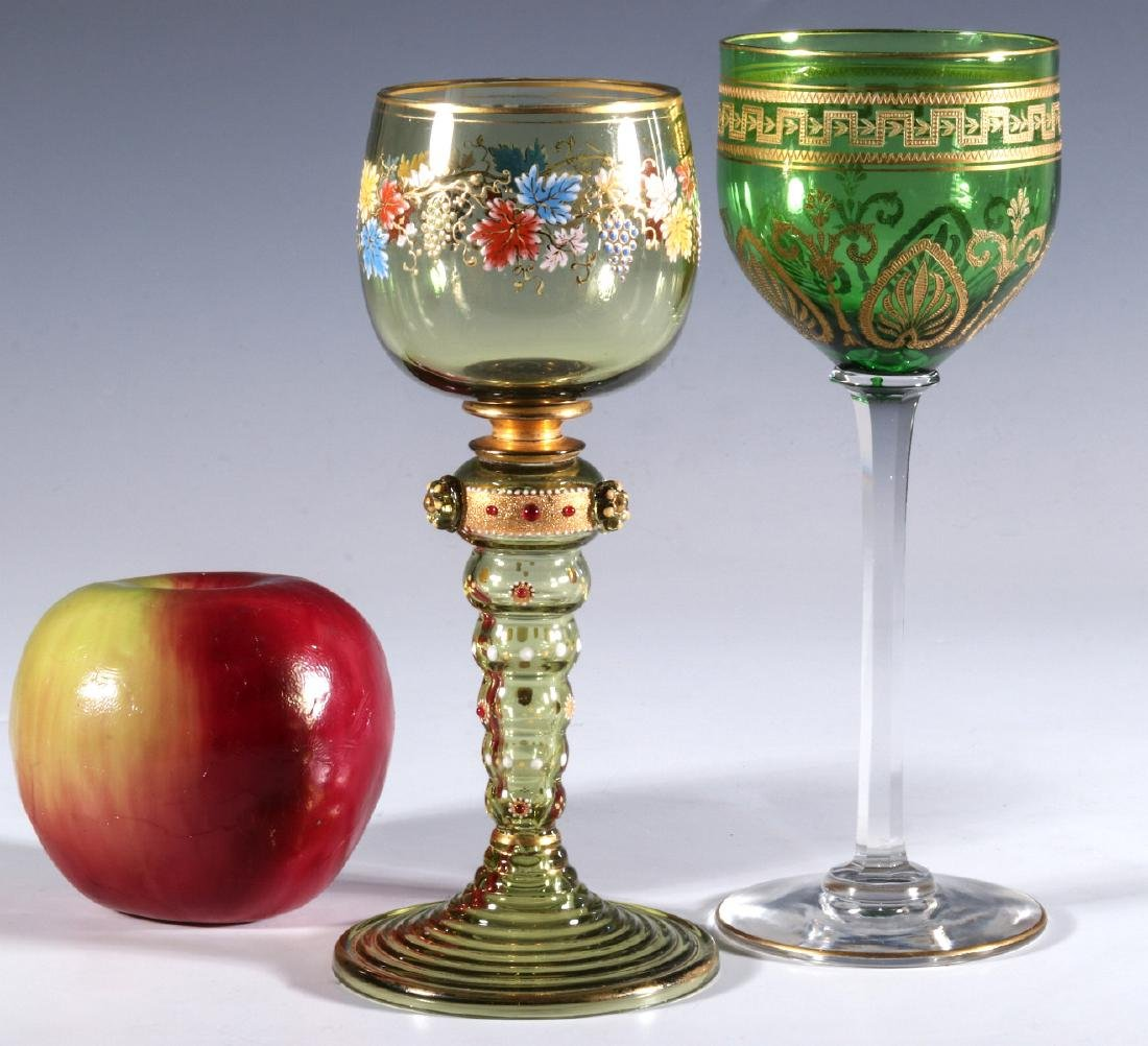 BOHEMIAN AND FRENCH(?) ART GLASS WINE GOBLETS - 8