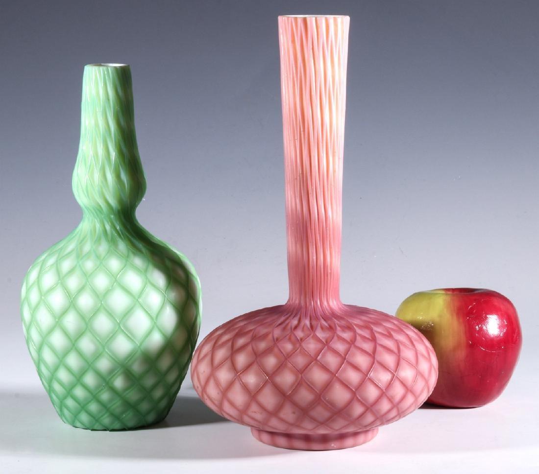 CUT VELVET VICTORIAN ART GLASS VASES - 7