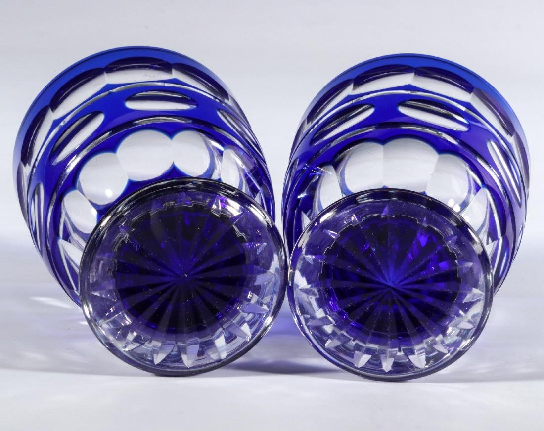 TWO BOHEMIAN BLUE CUT TO CLEAR FOOTED TUMBLERS - 10