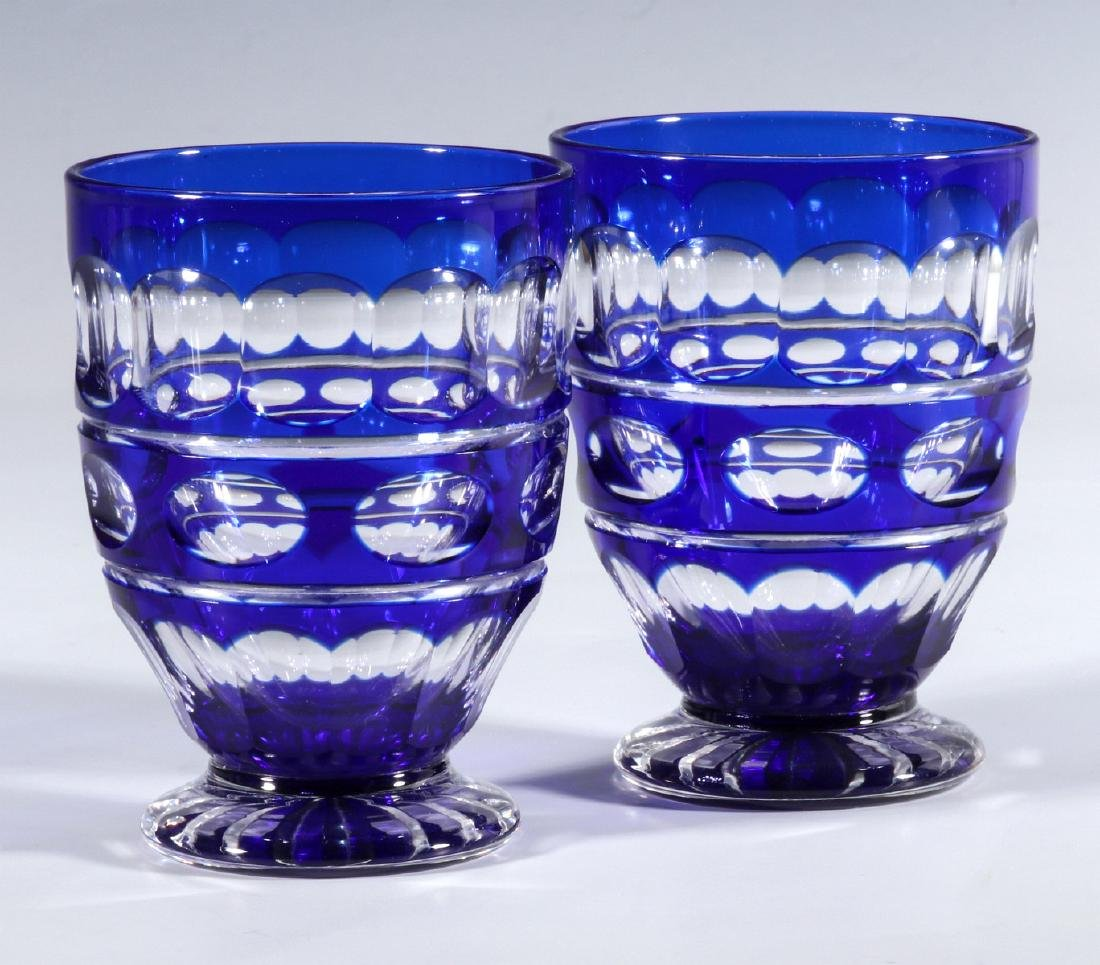 TWO BOHEMIAN BLUE CUT TO CLEAR FOOTED TUMBLERS