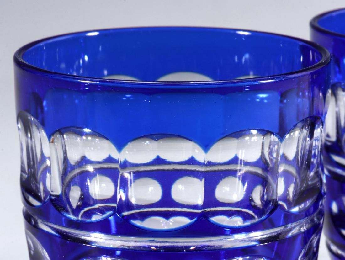 TWO BOHEMIAN BLUE CUT TO CLEAR FOOTED TUMBLERS - 2