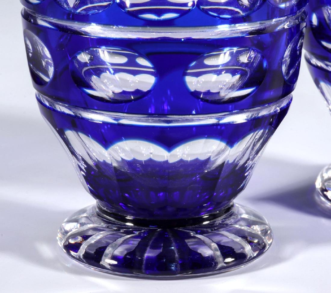 TWO BOHEMIAN BLUE CUT TO CLEAR FOOTED TUMBLERS - 3