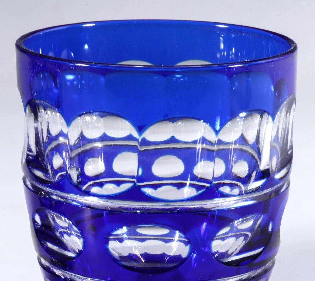 TWO BOHEMIAN BLUE CUT TO CLEAR FOOTED TUMBLERS - 4