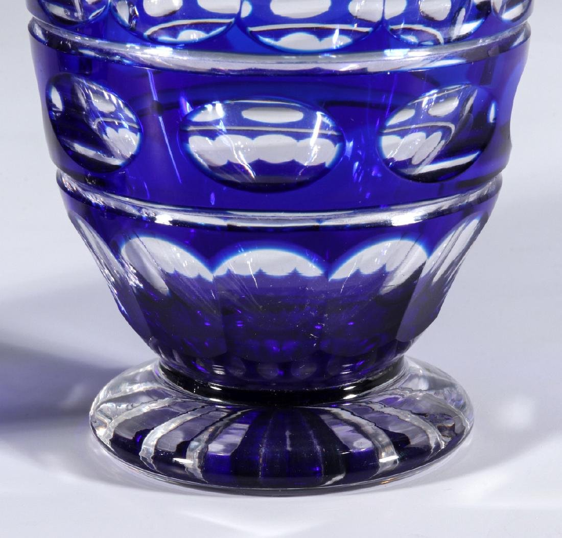 TWO BOHEMIAN BLUE CUT TO CLEAR FOOTED TUMBLERS - 5