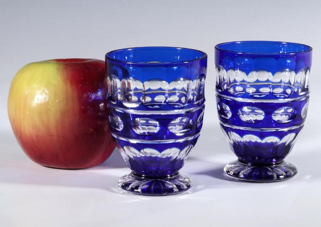 TWO BOHEMIAN BLUE CUT TO CLEAR FOOTED TUMBLERS - 6
