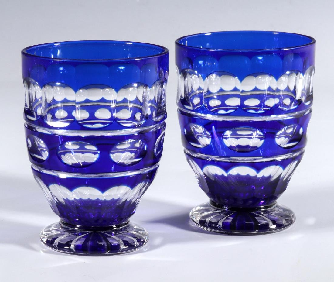 TWO BOHEMIAN BLUE CUT TO CLEAR FOOTED TUMBLERS - 7