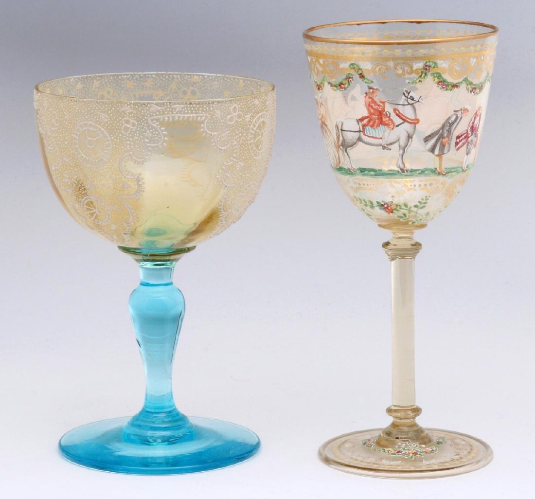TWO INTERESTING ENAMELED ART GLASS WINE GOBLETS