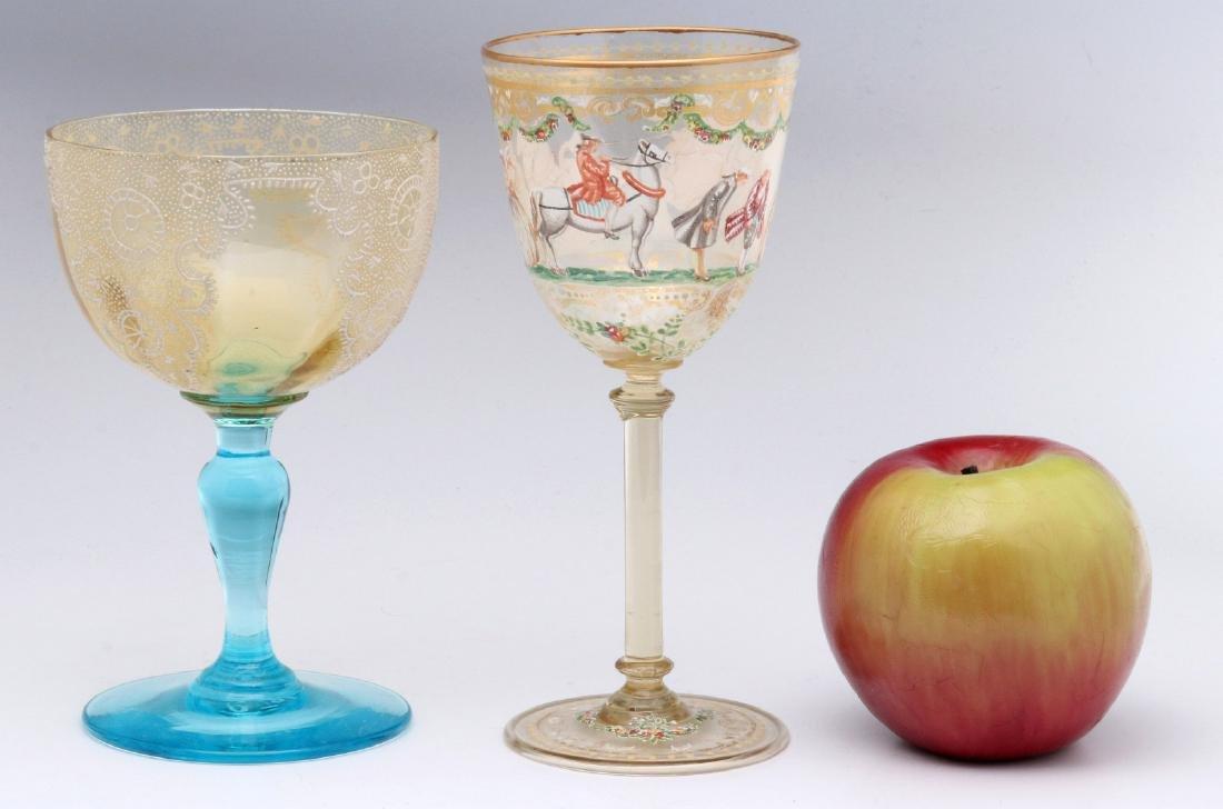 TWO INTERESTING ENAMELED ART GLASS WINE GOBLETS - 2