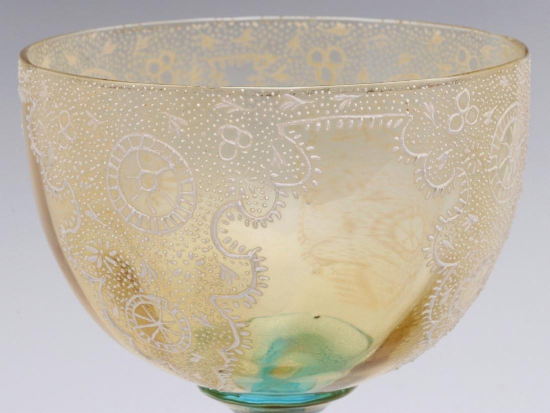 TWO INTERESTING ENAMELED ART GLASS WINE GOBLETS - 4