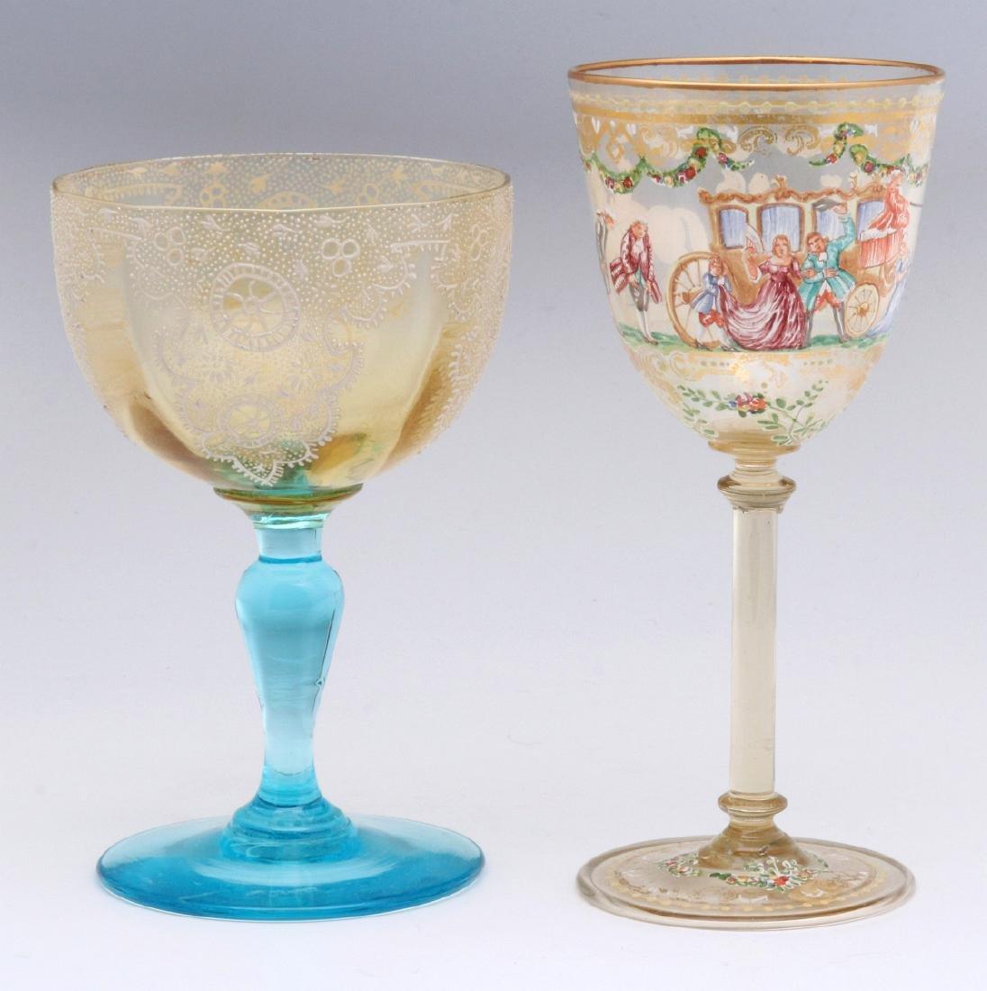 TWO INTERESTING ENAMELED ART GLASS WINE GOBLETS - 5