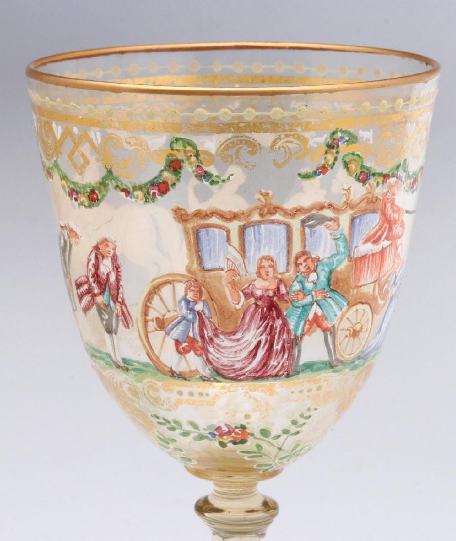 TWO INTERESTING ENAMELED ART GLASS WINE GOBLETS - 6