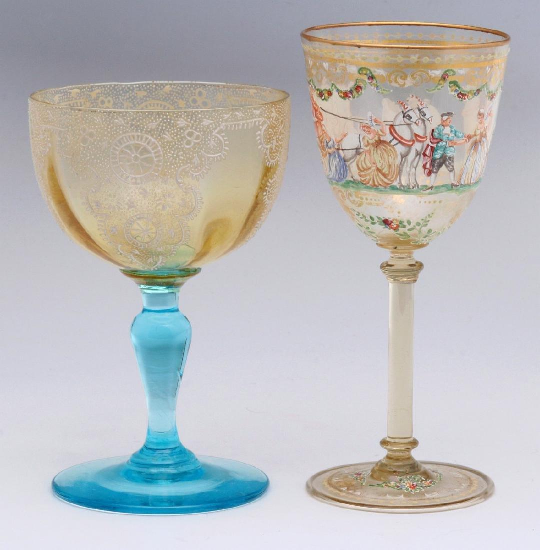 TWO INTERESTING ENAMELED ART GLASS WINE GOBLETS - 7