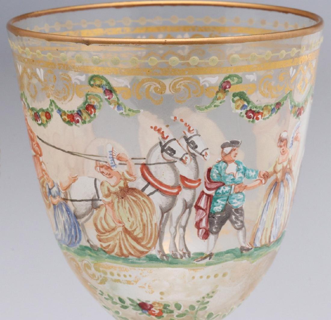 TWO INTERESTING ENAMELED ART GLASS WINE GOBLETS - 8