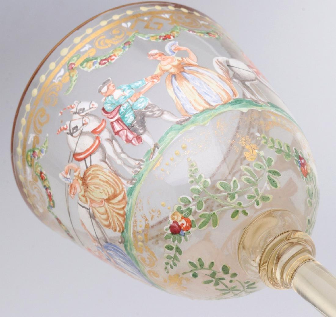 TWO INTERESTING ENAMELED ART GLASS WINE GOBLETS - 9