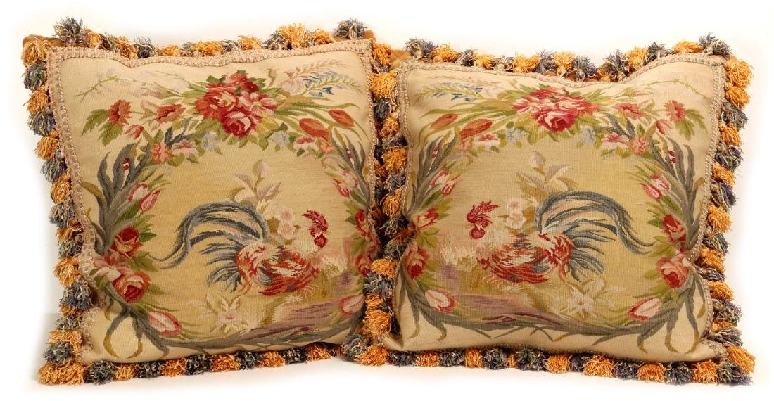 A PAIR NICE CONTEMPORARY FRENCH TAPESTRY PILLOWS