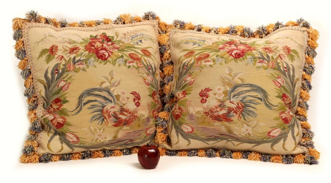 A PAIR NICE CONTEMPORARY FRENCH TAPESTRY PILLOWS - 2