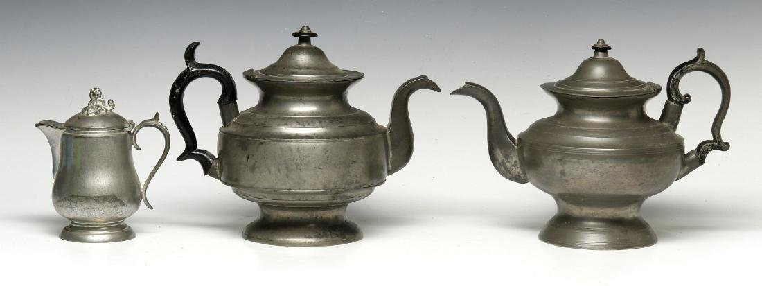 THREE 19TH CENTURY AMERICAN PEWTER VESSELS - 7