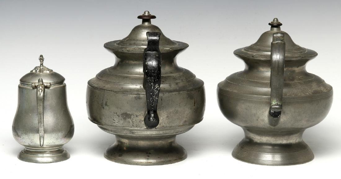THREE 19TH CENTURY AMERICAN PEWTER VESSELS - 8