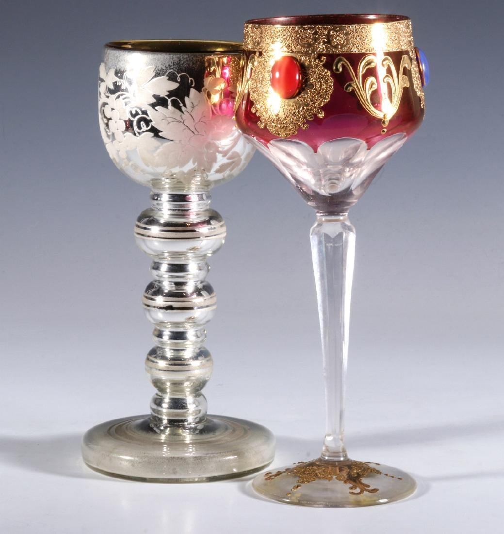 MERCURY GLASS AND JEWELED CRANBERRY GOBLETS - 8