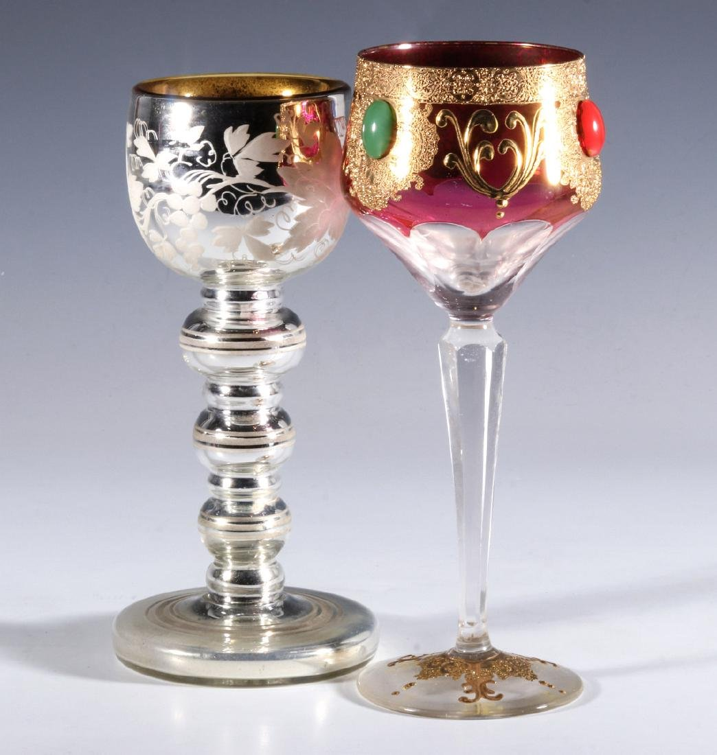 MERCURY GLASS AND JEWELED CRANBERRY GOBLETS - 9