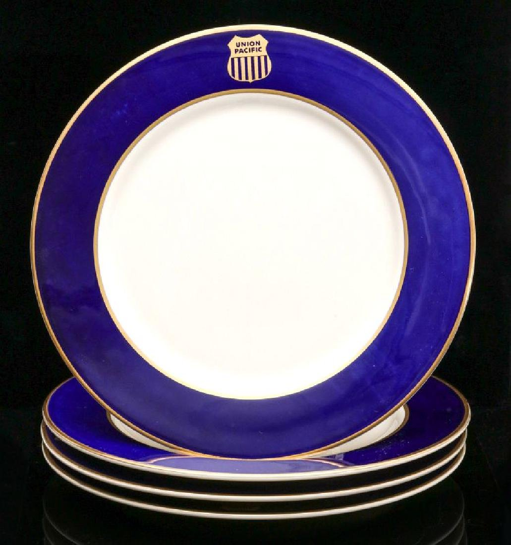 FOUR UNION PACIFIC DINNER PLATES WITH LOGO