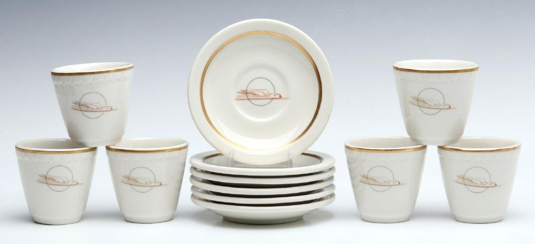 SIX UNION PACIFIC RR DEMITASSE CUP AND SAUCERS