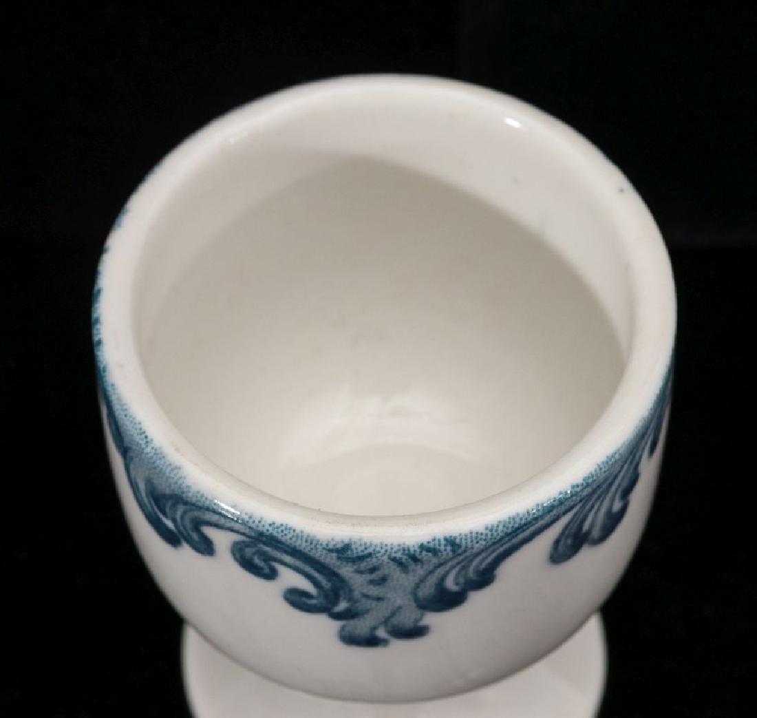 A UNION PACIFIC RR HARRIMAN BLUE PEDESTAL EGG CUP - 4