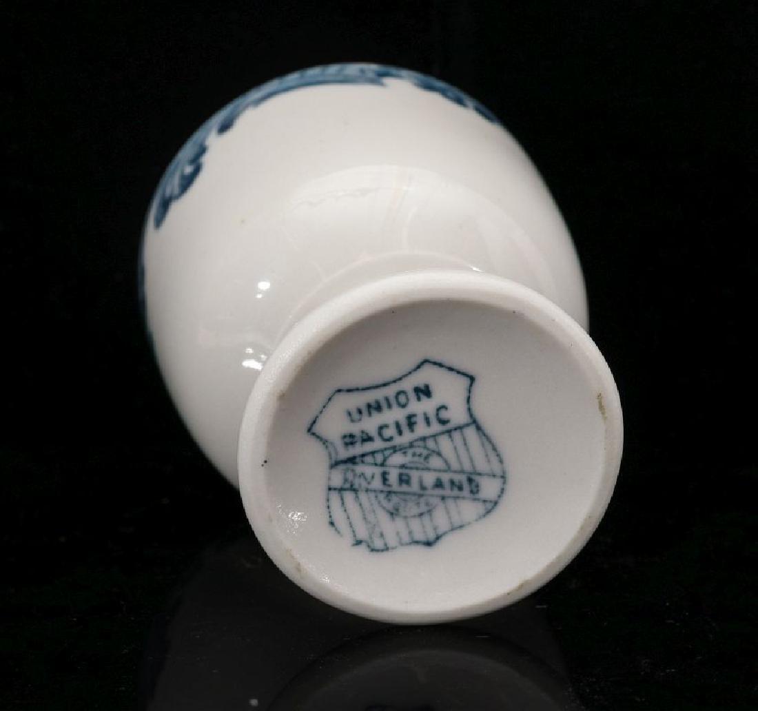 A UNION PACIFIC RR HARRIMAN BLUE PEDESTAL EGG CUP - 8