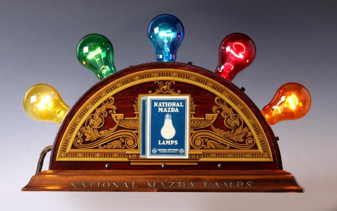 A MAZDA NATIONAL LAMPS LIGHTED ADVERTISING DISPLAY