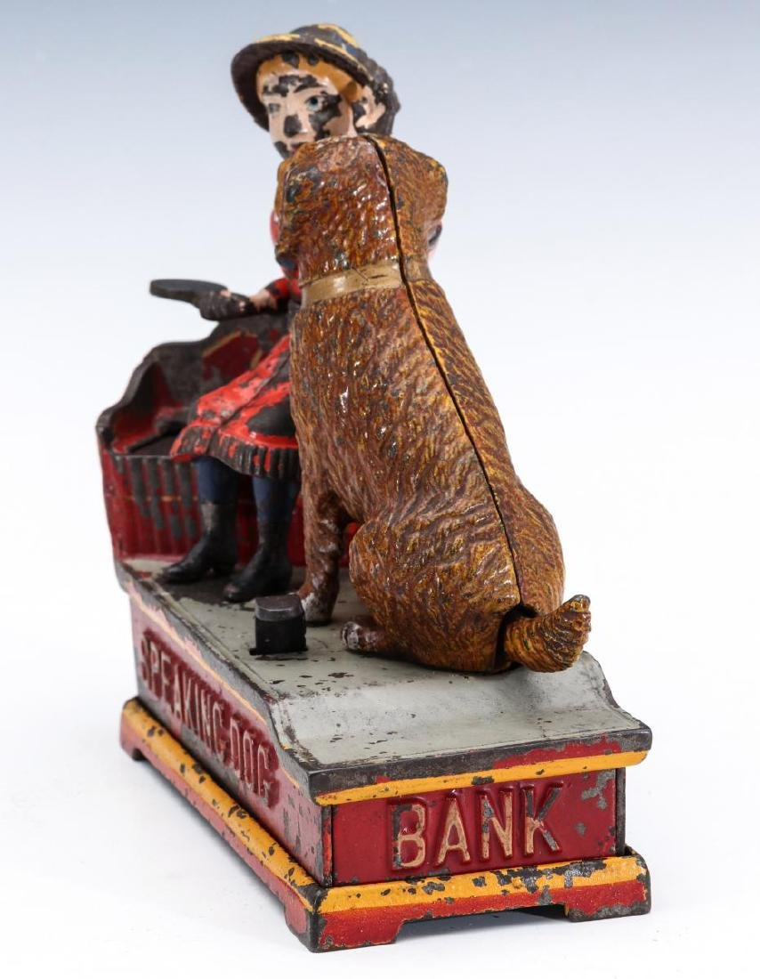 A 19TH C. SPEAKING DOG CAST IRON MECHANICAL BANK - 10