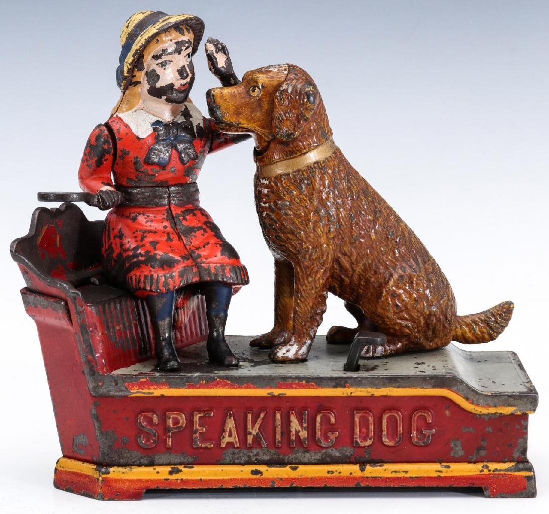 A 19TH C. SPEAKING DOG CAST IRON MECHANICAL BANK