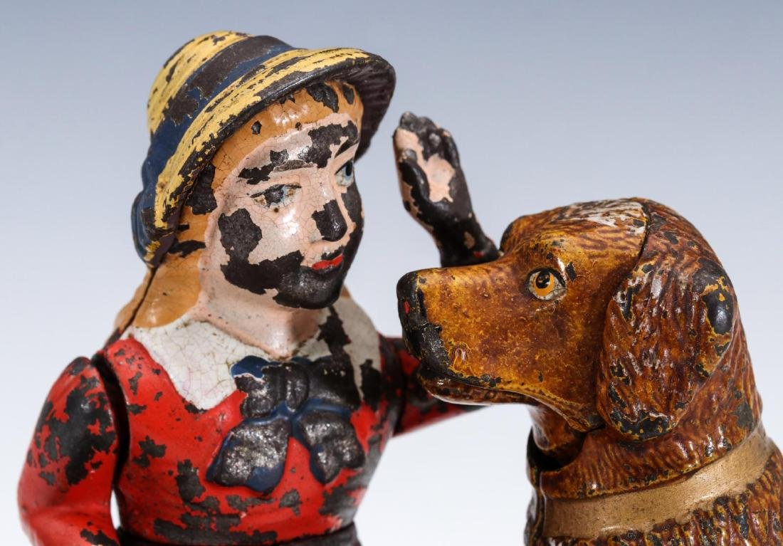 A 19TH C. SPEAKING DOG CAST IRON MECHANICAL BANK - 2